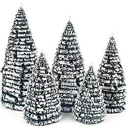 Frosted Trees - Green-White - 5 pieces - 8 cm / 3.1 inch to 16 cm / 6.3 inch