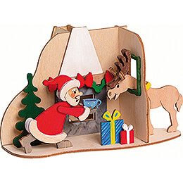 Handicraft Set - Smoking Hut - Santa with Moose - 11 cm / 4.3 inch