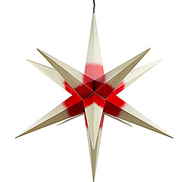 Hasslau Christmas Star - Creme with Red Core and Lighting - 75 cm / 30 inch -  Inside/Outside Use