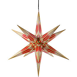 Hasslau Christmas Star - Red/White with Golden Pattern and Lighting - 75 cm / 30 inch -  Inside/Outside Use