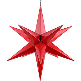 Hasslau Christmas Star - Red and Lighting - 60 cm / 23.6 inch - Inside/Outside Use