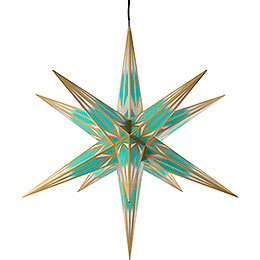 Hasslau Christmas Star - Turquoise/White with Golden Pattern and Lighting - 75 cm / 30 inch -  Inside/Outside Use
