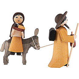Holy Family on Donkey, Stained - 7 cm / 2.8 inch