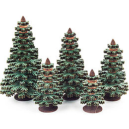 Layered Trees - Conifers Green - 5 pieces - 8 cm / 3.1 inch