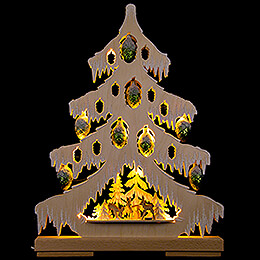 Light Triangle - Fir Tree with Deer, Green Glass Cones and White Frost - 32x42 cm / 12.6x16.5 inch