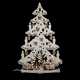 Light Triangle - Fir Tree with Forest Hat and White Frost - 44x67x9 cm / 17x26x3.5 inch