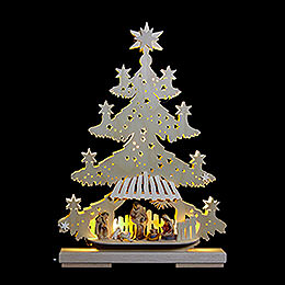 Light Triangle - Fir Tree with Nativity Scene - 32x44x7 cm / 13x17x8 inch