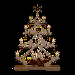 Light Triangle - Fir Tree with Stars - 32x44 cm / 12.6x17.3 inch