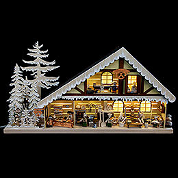 Lighted House Bakery with White Frost - 70x38 cm / 28x15 inch
