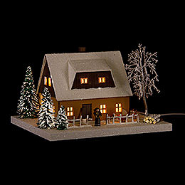 Lighted House Ore Mountains Home Ocherous - 11,5 cm / 4.5 inch