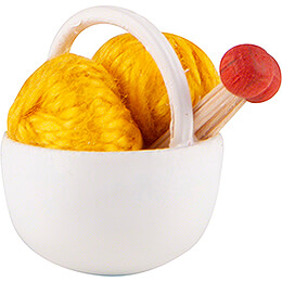 Little Basket with Wool,yellow - 1,5 cm / 0.6 inch