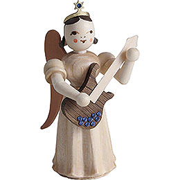 Long Pleated Skirt Angel with Electric Guitar SWAROVSKI ELEMENTS, Natural - 6,6 cm / 2.6 inch