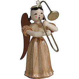 Long Pleated Skirt Angel with Slide Trombone, Natural - 6,6 cm / 2.6 inch