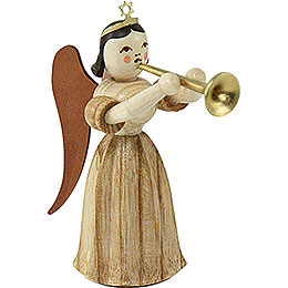 Long Pleated Skirt Angel with Trombone, Natural - 6,6 cm / 2.6 inch