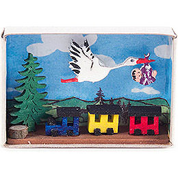Matchbox - Stork, Baby and Train - 4 cm / 1.6 inch