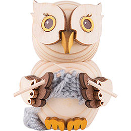Mini Owl with Knitting - 7 cm / 2.8 inch