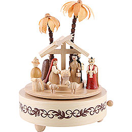 Music Box Nativity Scene Natural Wood - 19 cm / 7 inch