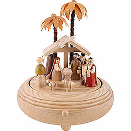 Music Box Nativity Scene Natural Wood - 20 cm / 8 inch