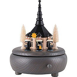 Music Box - Seiffen Church and Carolers - Grey - 13 cm / 5.1 inch