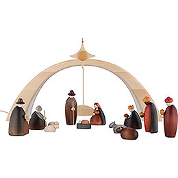 Nativity Set of 14 Pieces Including Light Arch - and Star