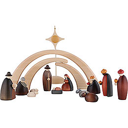 Nativity Set of 14 Pieces Including Stable and Star