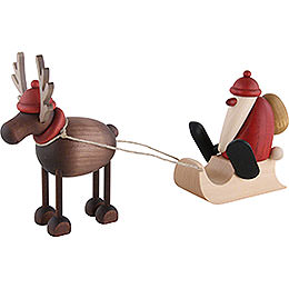 Rudolf the Reindeer with Santa Claus on a Sledge - 12 cm / 4.7 inch