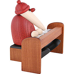 Santa Claus Playing a Brown Piano - 9 cm / 3.5 inch