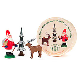 Santa Claus, Tree and Deer in Wood Chip Box - 5,5 cm / 2.2 inch