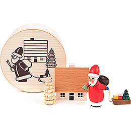 Santa Claus in Wood Chip Box - 4 cm / 1.6 inch
