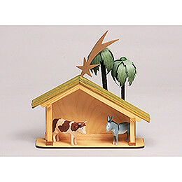Seiffen Nativity - Nativity Stable - 6 pieces - 23 cm / 9.1 inch