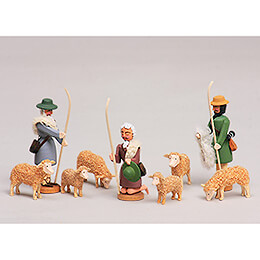 Seiffen Nativity - Shepherds and Sheeps - 9 pieces - 8 cm / 3.1 inch
