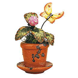 Set of Three- Flower Pot Clover Flower - 6 cm / 2,5 inch