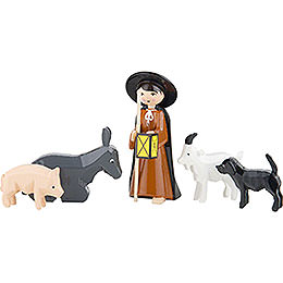 Shepherd with Animals, Set of Five, Colored - 7 cm / 2.8 inch