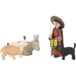 Shepherd with Animals, Set of Five, Stained - 7 cm / 2.8 inch