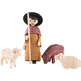 Shepherd with Three Sheep, Stained - 7 cm / 2.8 inch