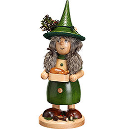 Smoker - Lady Gnome with Pan, Green - 25 cm / 10 inch