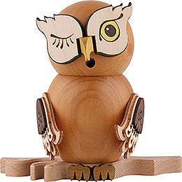 Smoker - Owl Stained Wood - 15 cm / 5.9 inch