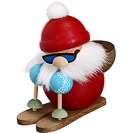 Smoker - Santa on Ski - Ball Figure - 10 cm / 4 inch