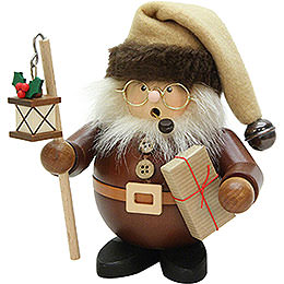 Smoker - Santa with Lantern Natural Wood - 15,5 cm / 6 inch