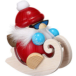 Smoker - Santa with Sleigh - Ball Figure - 12 cm / 4.7 inch