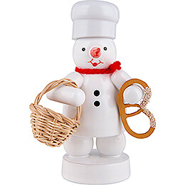 Snowman Baker with Bun Basket and Pretzel - 8 cm / 3.1 inch