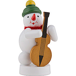Snowman Musician with Bass Violin - 8 cm / 3 inch