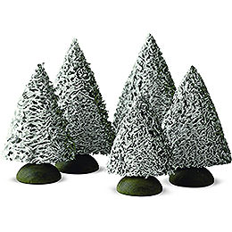 Spruce Tree with Snow, Set of Five - 8 cm / 3.1 inch
