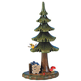 Summer Tree with Stack of Wood - 16 cm / 6 inch