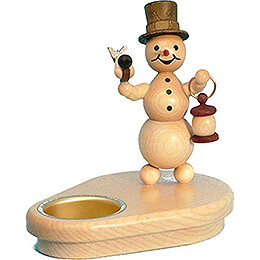 Tea Light Holder - Snowman with Lantern - 12 cm / 4.7 inch