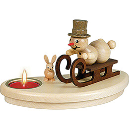 Tea Light Holder - Snowman with Sled - 9 cm / 3.5 inch