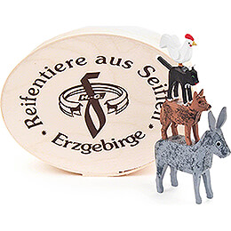 Town Musicians of Bremen in Wood Chip Box - 5 cm / 2 inch