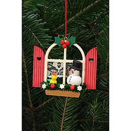 Tree Ornament - Advent Window with Snowman - 7,6x7,0 cm / 3x3 inch