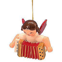 Tree Ornament - Angel with Accordion - Red Wings - Floating - 5,5 cm / 2,1 inch