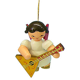 Tree Ornament - Angel with Balalaika - Red Wings - Floating - 5,5 cm / 2,1 inch